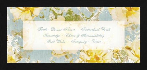 Picture of Young Women Values (Flowers) Open Edition Lithograph on Paper Framed to 15 X 7