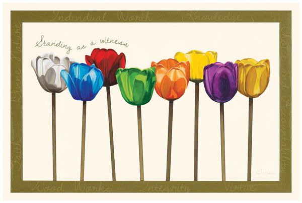 Picture of YW Values Tulips Plaque 15 X 10
