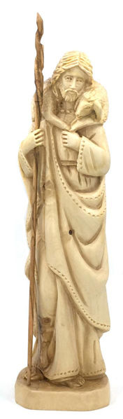 """Picture of Good Shepherd Olive Wood Carving 9"""" Tall"""