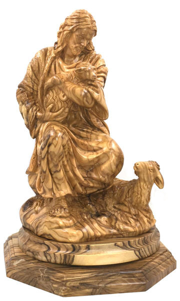 Picture of Christ with Lambs Olive Wood Carving
