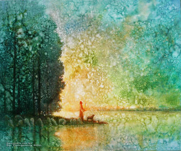 Picture of Beside Quiet Waters  Original Oil on Canvas 28 5/8 X 23 3/4