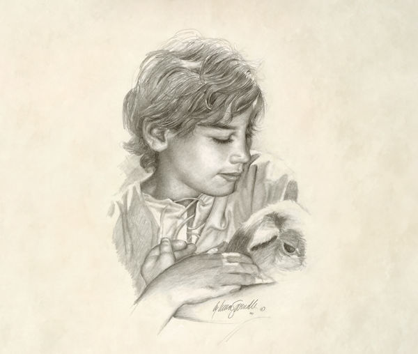 Picture of Young Jesus With Lamb Sketch