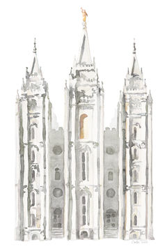 Picture of Salt Lake City Temple Watercolor in Gray