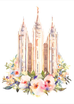 Picture of Salt Lake City Temple Floral Watercolor