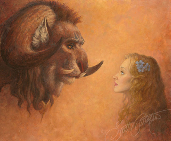 Picture of Beauty Looking at the Beast Original Oil on Panel 16.5 X 13