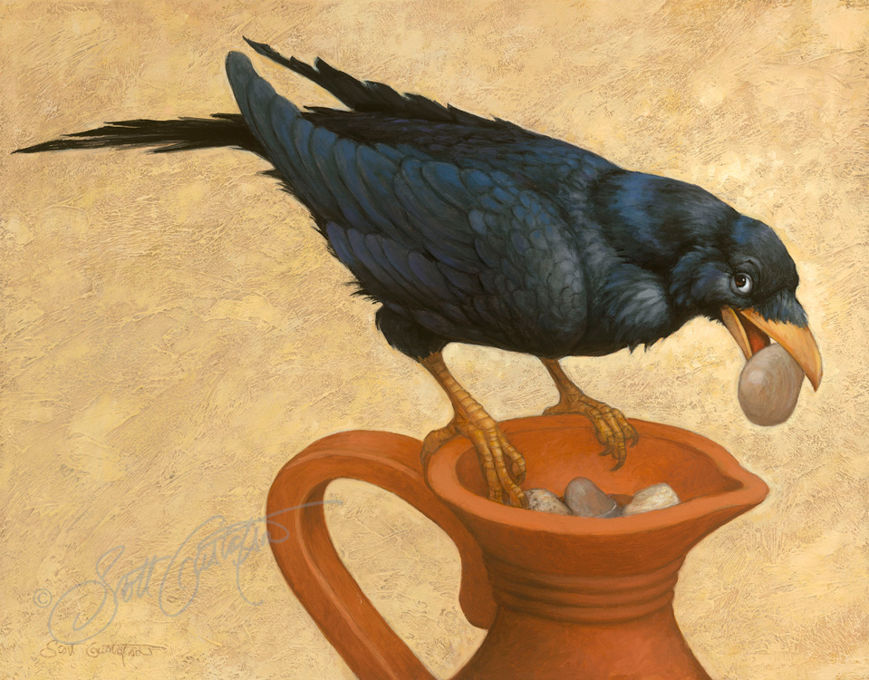 Picture of The Crow and the Pitcher Original Oil on Panel 18 X 14