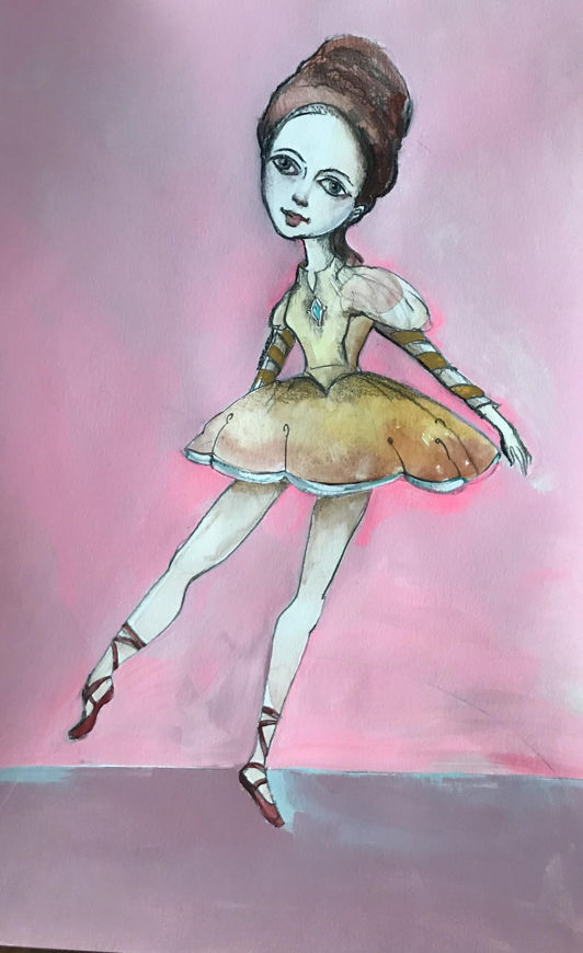 Picture of Dancing in Red Point Shoes Original Oil on Paper 11 X 17