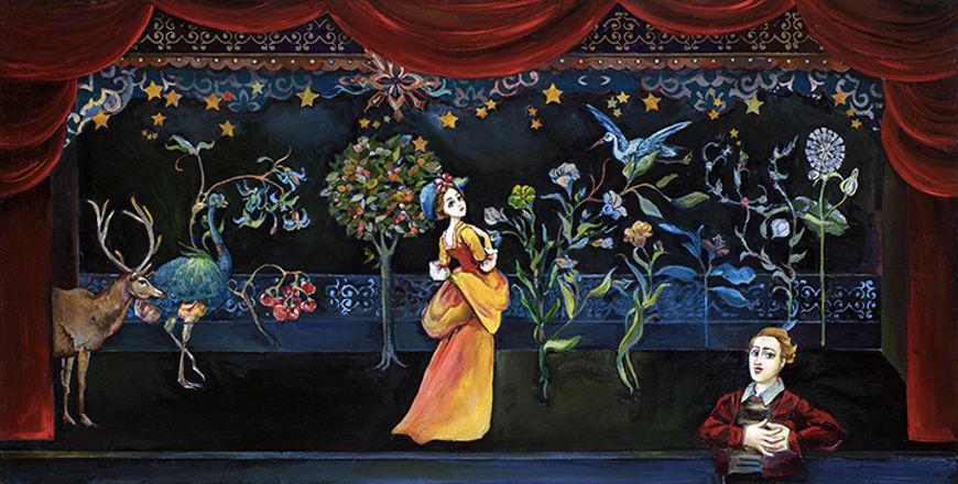 Picture of Mutual Adoration Original Oil on Panel 36 X 18
