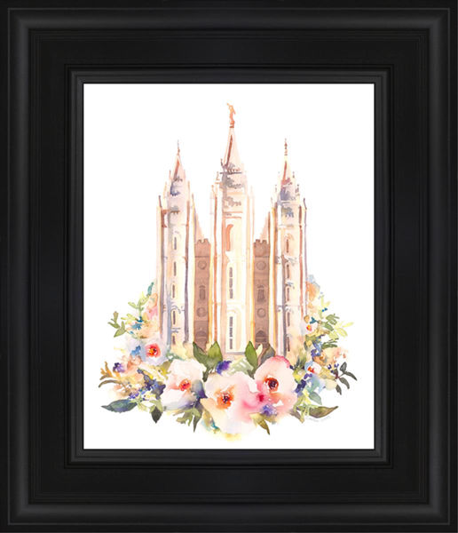 Salt Lake City Temple Floral Watercolor